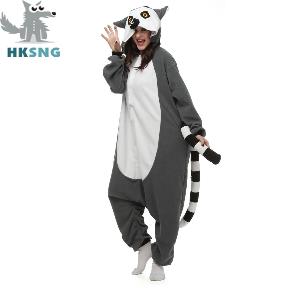 HKSNG New Animal Adult Lemur Catta Pajamas Cartoon Long Tail Monkey Kigurumi Onesies Cosplay Costumes Unisex Christmas Gift