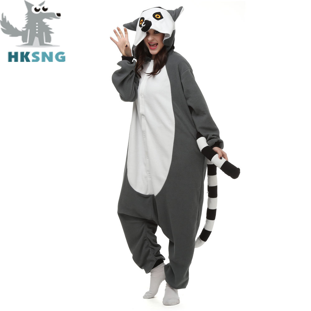 HKSNG New Animal Adult Lemur Catta Pajamas Cartoon Long Tail Monkey Kigurumi Onesies Cosplay Costumes Unisex Christmas Gift