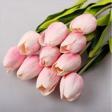 10 Pcs beleza flor Artificial Real toque de látex flores Tulipas Bouquet Falso flor decorar flores buquê de noiva para o casamento