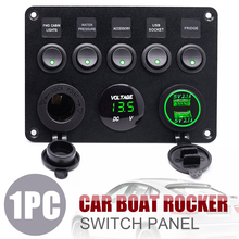 Mayitr 1pc 5 Gang Car ON-OFF Toggle Rocker Switch Control Panel With Green LED Digital Voltmeter 2 USB Charger 12V