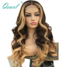 Thick Density Human Hair Wig Ombre Colored 180% 200% Brazilian Wavy Remy Hair Brown Blonde Lace Front Wig 13x4 Pre plucked Qearl
