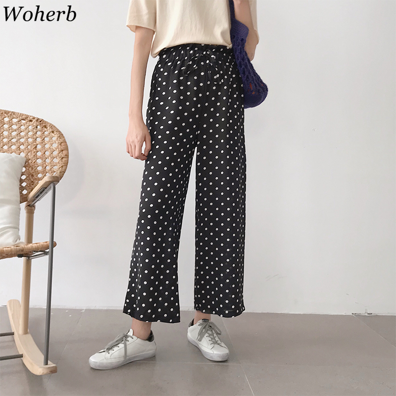 Woherb Sweet Polka Dot Print   Wide     Leg     Pants   Women Summer Korean Elastic High Waist Casual Straight   Pant   Pantalones Mujer 22180
