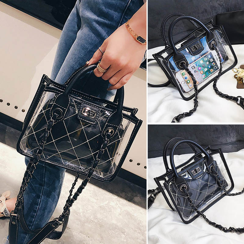 Women's Luxury Transparent Shoulder Bag Trend Travel Hot Sale Chain Female Composite Bags Fashion Multifuction Girls Totes