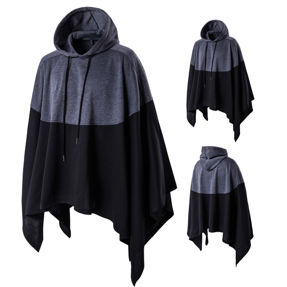 Cosplay spring Korean version of the popular cloak hooded sweater stitching fashion tide men's cloak coat large size