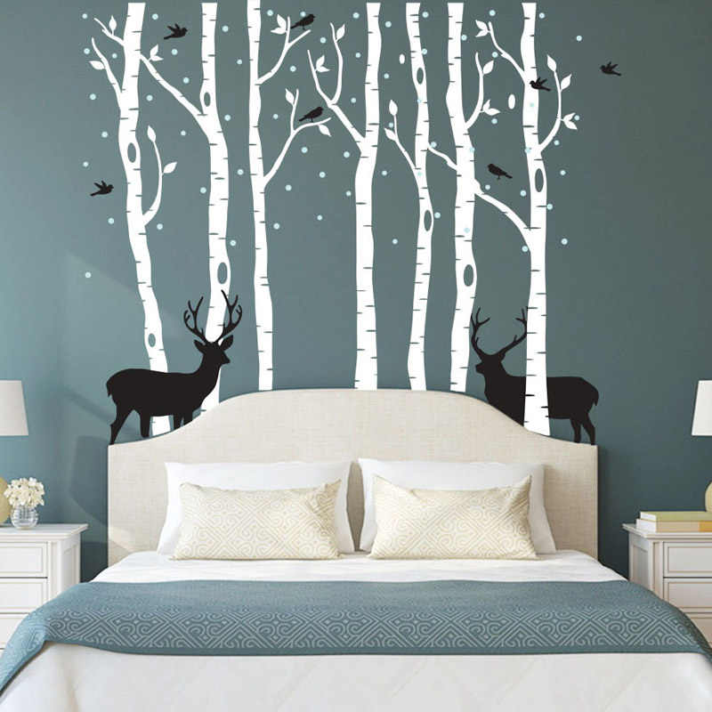 detail feedback questions about huge trees elk forest wall stickers