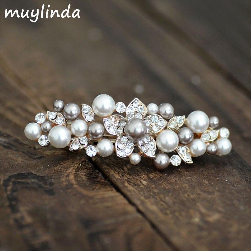 Fashion Simulated Pearls Flower Barrettes Bobbypins Rhinestone Hair Clip Jewelry Girls Hair Accessories