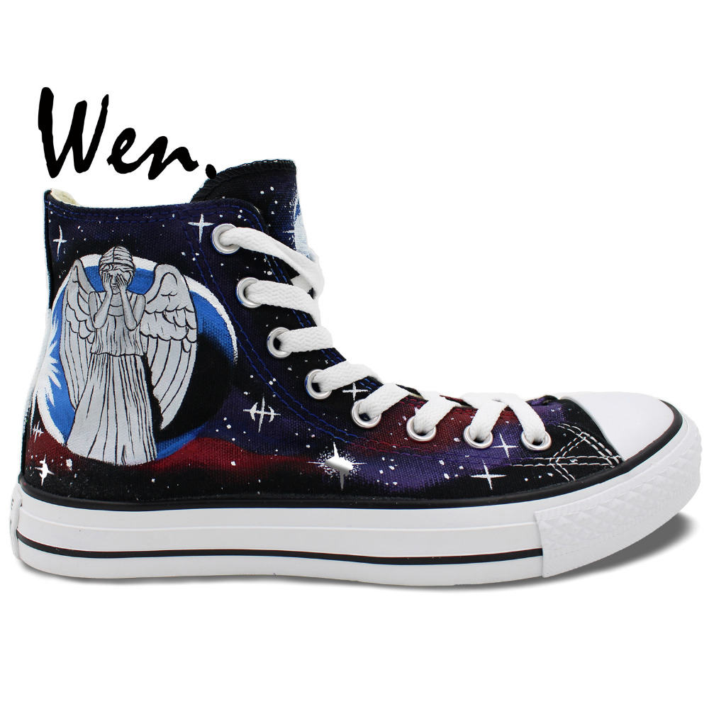 Wen håndmalede lærredesko Design Custom Customing Angel Tardis Doctor Hvem High Top Men Dame Sneakers til Gaver