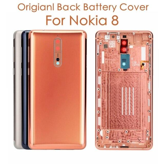 노키아 8 백 하우징 커버 + 사이드 키 + 카메라 유리 렌즈 노키아 8 배터리 커버 교체 예비 부품