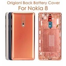 Carcasa trasera Original para Nokia 8 + llaves laterales + Lente de Cristal de cámara para Nokia 8, piezas de repuesto para reparación de baterías