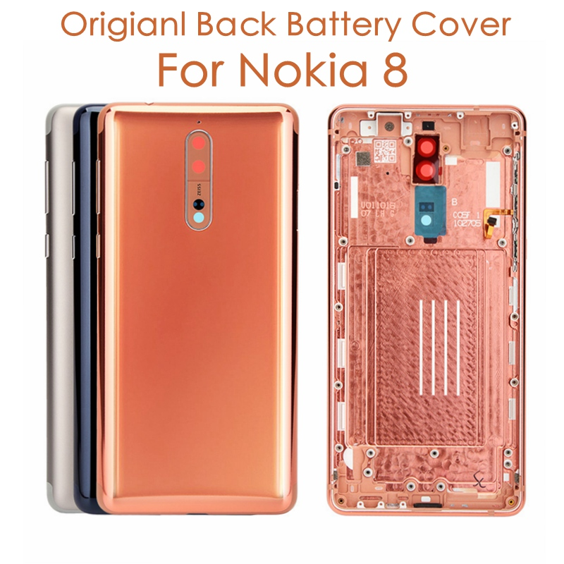 Original For Nokia 8 Back Housing Cover + Side Keys + Camera Glass Lens For Nokia 8 Battery Cover Replacement Spare Repair PartsMobile Phone Housings & Frames   -