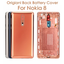 Original For Nokia 8 Back Housing Cover + Side Keys + Camera Glass Lens For Nokia 8 Battery Cover Replacement Spare Repair Parts