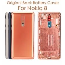 Original Para Nokia 8 Voltar Tampa da caixa + Teclas Laterais + Tampa Da Bateria de Substituição Lente De Vidro Da Câmera Para Nokia 8 reparação de Peças de reposição