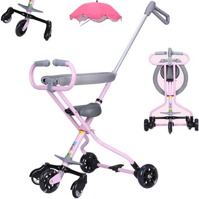 706ef429b Cochecito de bebé ultraligero con ruedas de PU para niños, triciclo de  viaje fácil,