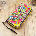 XIYUAN BRAND chinese fashion vintage national embroidery handmade bag ethnic women large capacity Double zipper wallet purse s