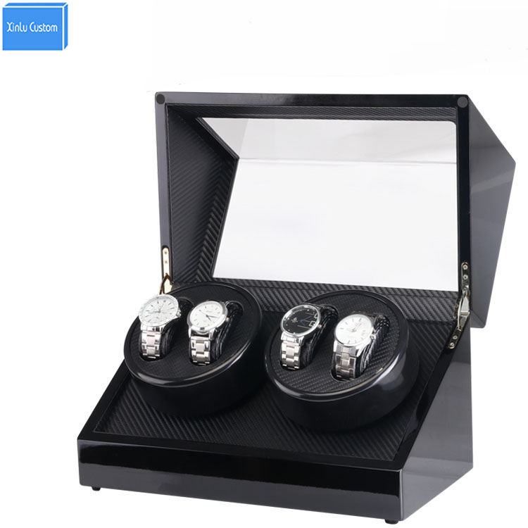 Automatic Watch Winder Box, Black Wood Paint Rotate 4 Watch Winder Storage/Display Case Global Adapter Motor Watch Case WBG1153 new arrival black color carbon fibre wood watch winder german ultra quiet 5 modes watch winder