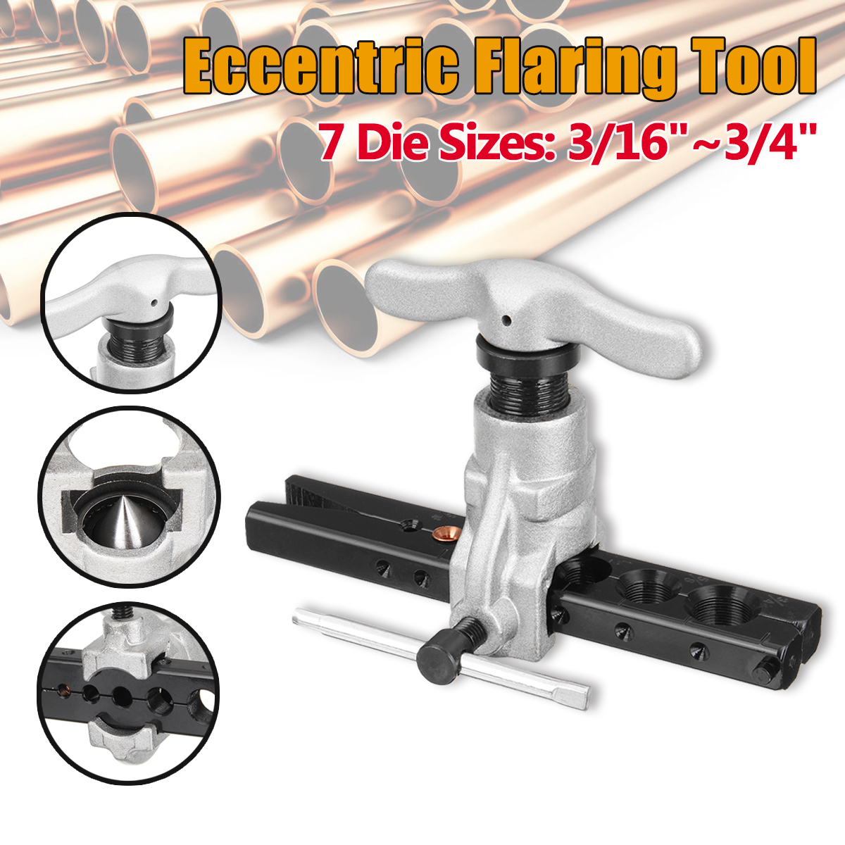 цена на 45 Degree Steel Eccentric Cone Flaring Tool 3/16-3/4 Refrigeration Copper Tube