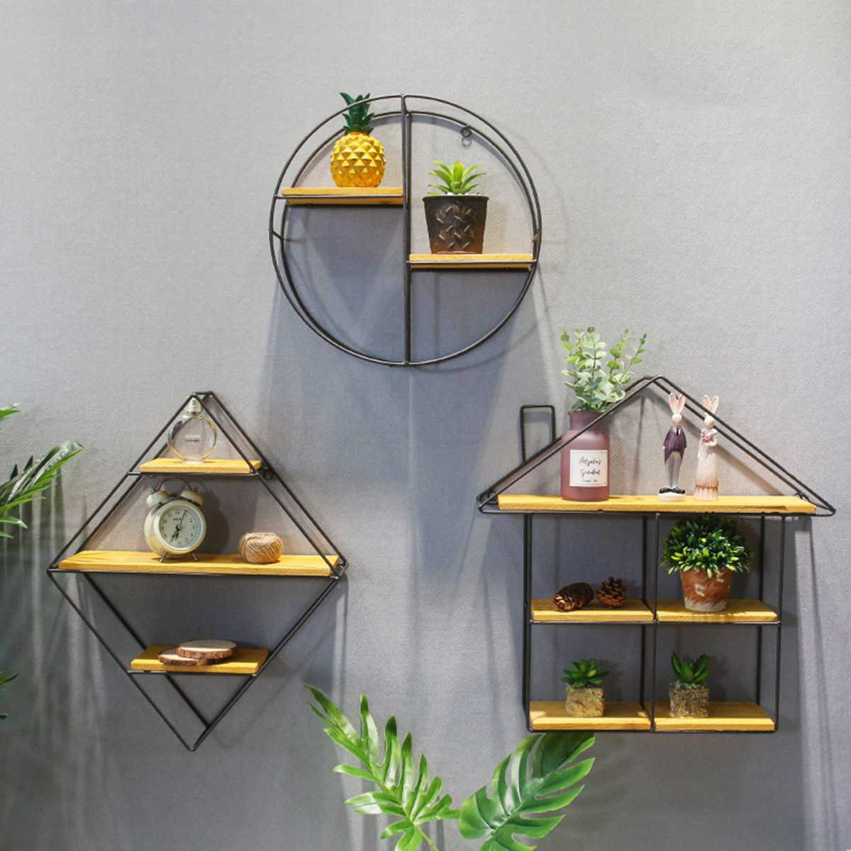 Black Round Square Wall Shelf Rack Iron Partition Solid Wooden Partition Board Bedroom Living Room Wall Hanging Storage Holder Полка
