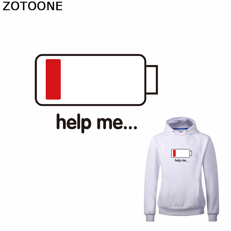 ZOTOONE Electricity Iron on Transfer Patch for Sweatshirt Interesting Stickers Appliques Clothing Funny Washable Applications