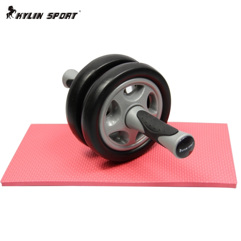 Free shipping !2015 Wonderful No Noise Double-Wheeled Version Abdominal Wheel Ab Roller With Mat For Exercise Fitness Equipment