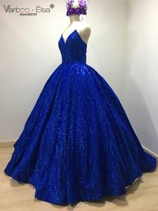 Image 3 - VARBOO_ELSA Hot Sale Sparkly Royal Blue Evening Dress Sequined Sexy V Sleeveless Prom Gown 2018 Custom ballgown vestido de festa