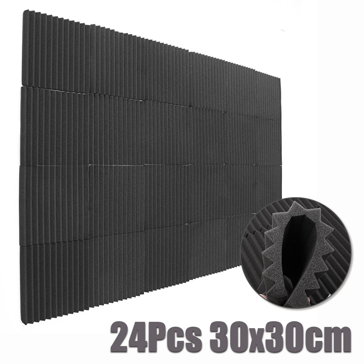 24 pcs 30x30 cm Insonorisation Mousse Mousse Acoustique Traitement Studio Chambre Absorption Du Bruit Wedge Tuiles Polyuréthane Mousse