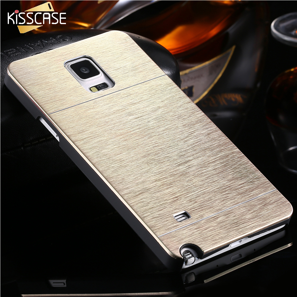 KISSCASE Note 4 2 Capa Case Aluminum Phone Cases For Samsung Galaxy Note 4 2 IV N9100 Vintage Hard Deluxe Gold Back Cover Shell
