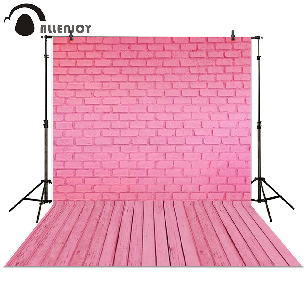 Allenjoy photography backdrop wooden floor pink brick wall baby shower children background photo studio photocall 3x5ft crack gray wall brick wall photography backdrop background photo studio