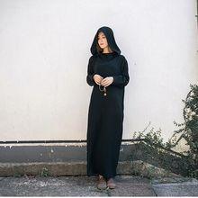 Women Black White Casual Vintage Hooded Dress Long Paragraph Dress Long Sleeved Vestidos 2017 Autumn Cotton Winter Maxi Dress