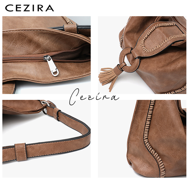 CEZIRA Fashion Vegan Leather Top-handle Bags Female Tote Shoulder Bags Ladies Large Hand Bags Tassel Flap Women Casual Hobo Bags 3