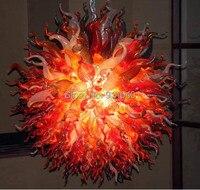 Большой цветок красный шарообразный стеклянный светильник светодиодный выдувное стекло ручной работы люстра освещение