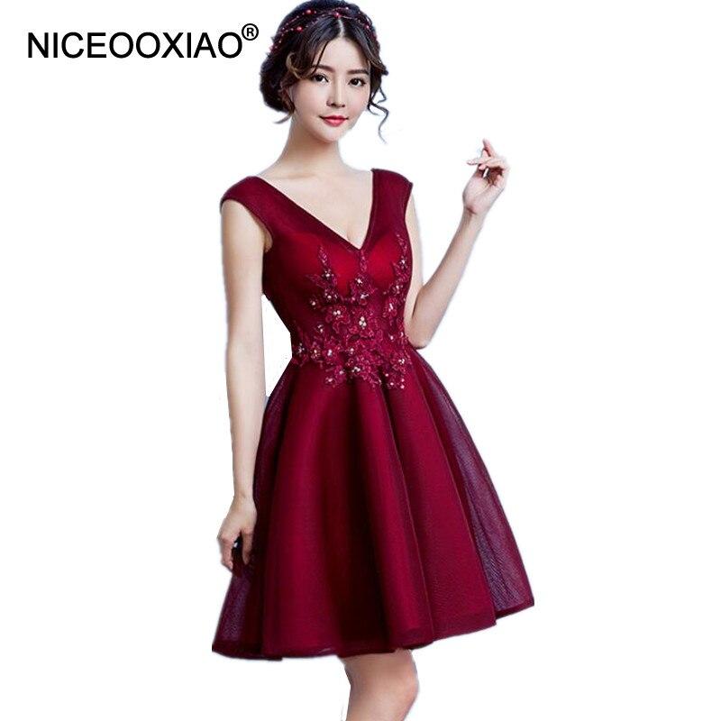 NICEOOXIAO Wijn Rode Korte Avondjurk 2018 Lace Kralen Sexy V-hals Backless Party Prom Gown Vrouwen Formele Jurk