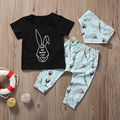 3pcs Baby Set Newborn Baby Boys Girls Clothes Fashion Short Sleeve Black Rabbit T-shirt+Long Print Pants+Handkerchief