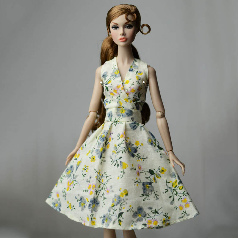 Fashion Black Countryside Floral Dress For 1//6 Doll Clothes Party Dresses Gown