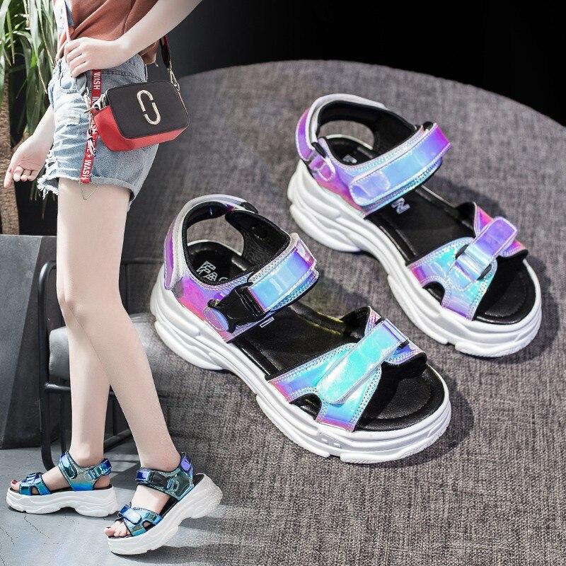 2019 New Summer Women Sandals Flat Shoes Comfortable Women Shoes Fashion Solid Peep Toe Crystal Sandals Elegant Beach Sandals