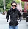 2016 зимняя куртка женщин парки для женщин зимнее пальто женщин с длинным рукавом теплый свет вниз проложенный с капюшоном плюс размер