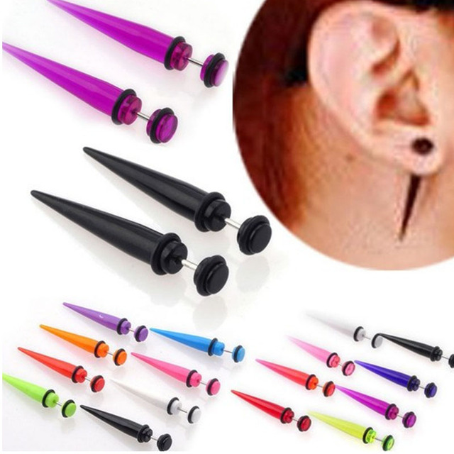 2pcs Uv Acrylic Illusion Ear Fake Cheater Stretcher Taper Spike Plug Tunnel Expander Earrings Gauges