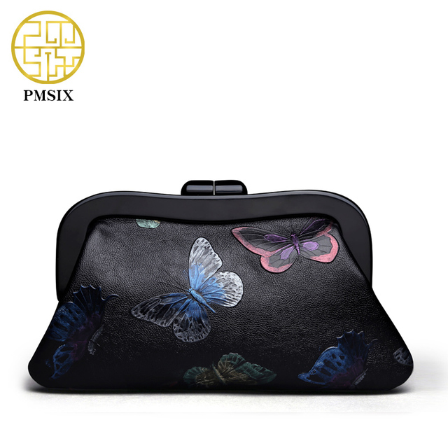 Pmsix Chinese Style Vintage Women Bags Butterfly Embossed Genuine Leather Women's Clutches Black Large Brand Evening Bag P510003