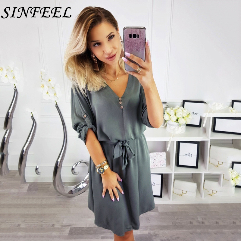 Roll Up Half Sleeve Shirt Dress 2019 Summer Chiffon Bandage Dresses Women Casual Sexy V-Neck Button Mini Party Dress Vestidos