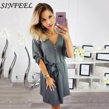 Roll up Half Sleeve Shirt Dress 2019 Summer Chiffon Bandage Dresses Women Casual Sexy V-neck Button Mini Party Vestidos