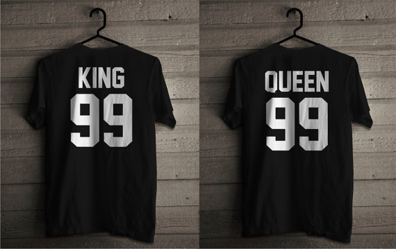 194f67d576 King and Queen 99 T Shirts for Couples Cotton King Queen Tees Matching Set  T-shirts Unisex Tees Women Men clothes Tops tshirts