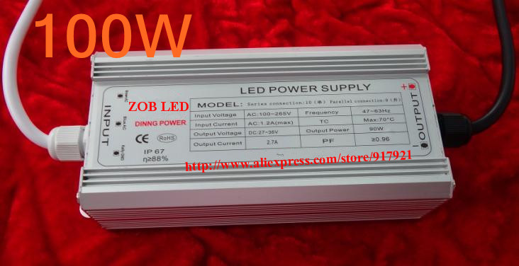 100w led driver, DC36V,3.0A,high power led driver for flood light / street light,IP65,constant current drive power supply