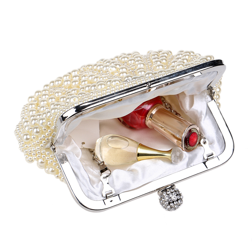Women Evening Bag Wedding Clutch Bag Bridal Handbag Pearl Beaded Party  Purse Elegant Long Chain Shoulder Bag Female bolsos mujer-in Top-Handle  Bags from ... ff6faa8036c2