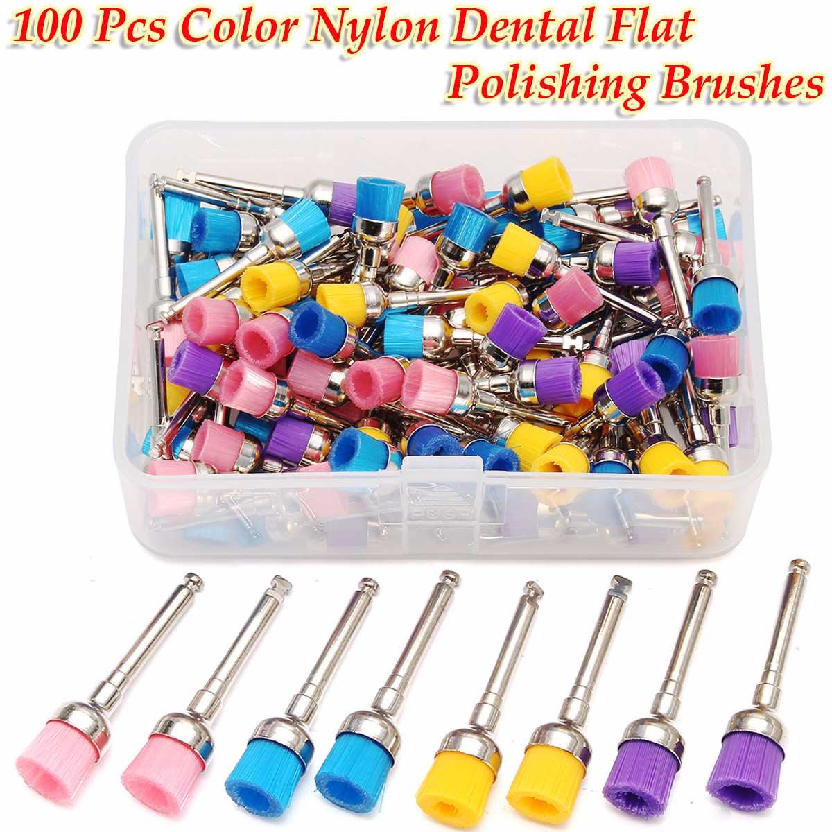 100Pcs/bag Dental Lab Nylon Latch Small Flat Polishing Polisher Prophylaxis Brushes Dentist Products 0.7cm Brush Head with Box prophylaxis paste mint flavor dental product