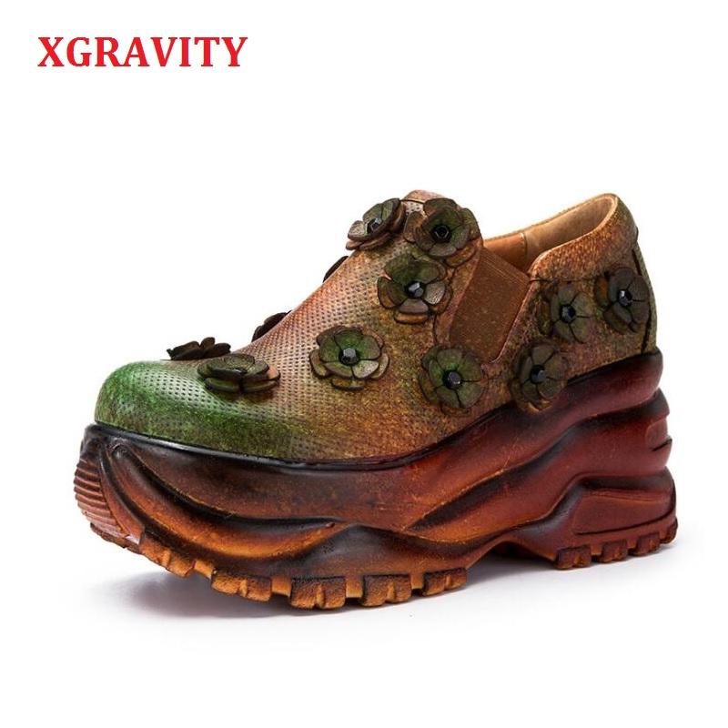 XGRAVITY 2019 Spring Original Flower Genuine Leather Wedge Pumps Elegant Floral High Heel Wedges Vintage Platform Shoes A076XGRAVITY 2019 Spring Original Flower Genuine Leather Wedge Pumps Elegant Floral High Heel Wedges Vintage Platform Shoes A076