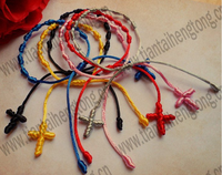 free ship 50pcs/lot multicolored rope rosary bracelet/knot bracelet/cord bracelet/rosary bangle decenario bracelet special offer
