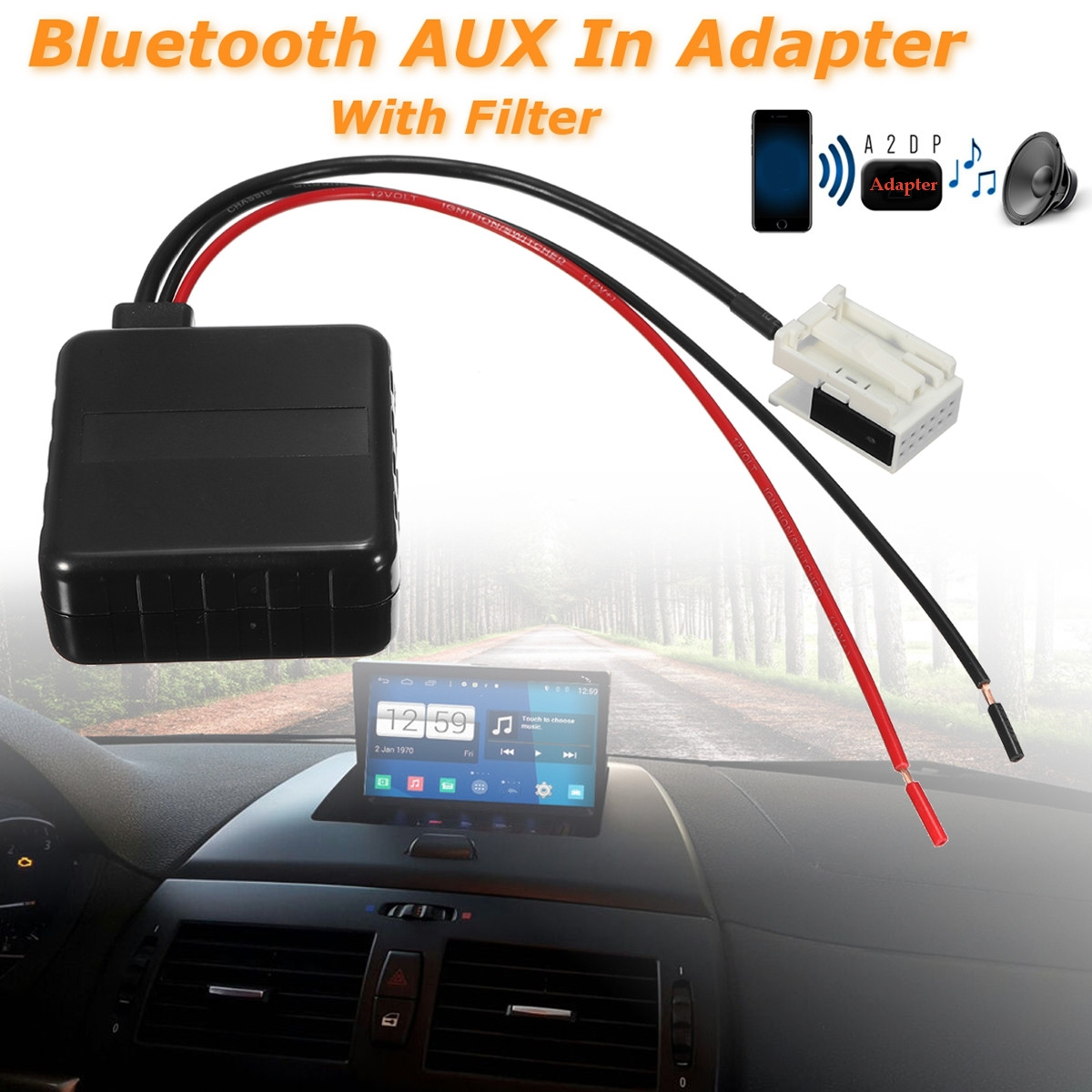 12 pins car bluetooth aux adapter radio speaker with. Black Bedroom Furniture Sets. Home Design Ideas