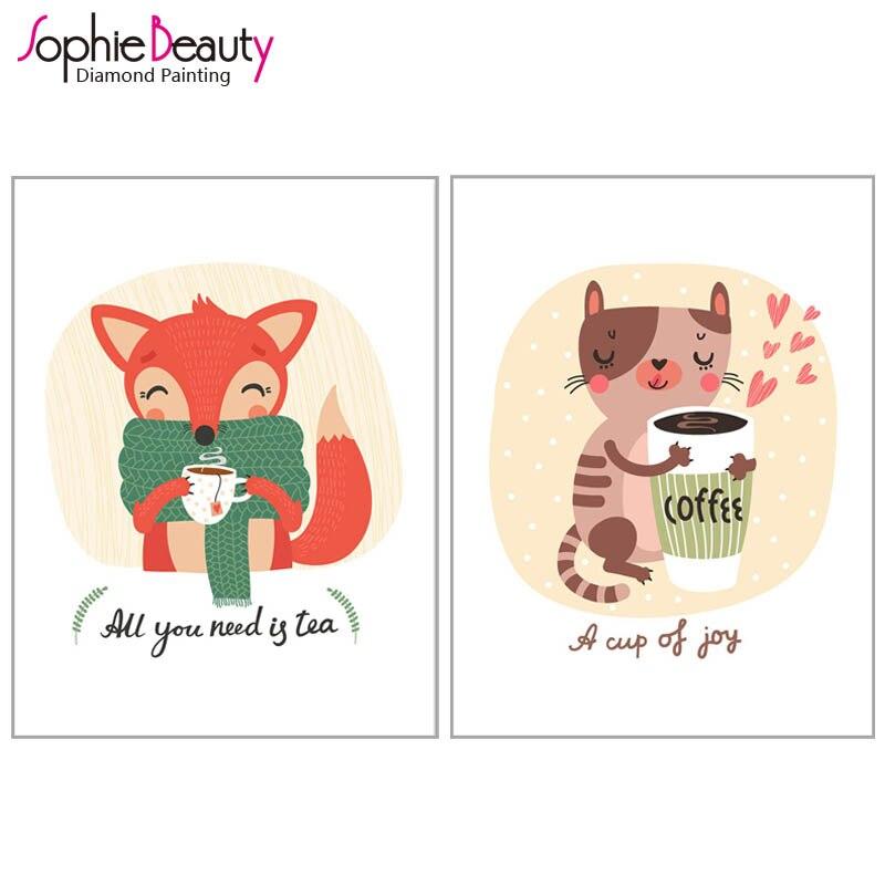 Diy Diamond Painting Cross Stitch Handcraft Embroidery Fox Animal Cat Beauty Coffee Arts Crafts Sewing Needlework Mosaic Kit