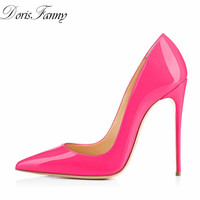 DorisFanny Large size 34 45 patent leather sexy Stiletto women shoes 2018 Pink high heels pumps 12cm