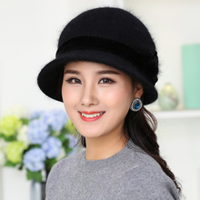 Fashion Winter Knitted Women Cap Mix Rabbit Fur Hat Flower Soft Wool Warm Baggy