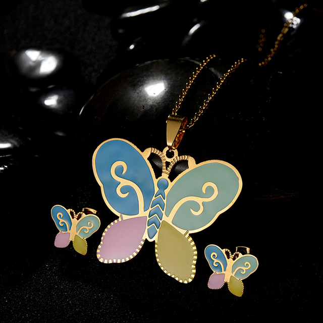 Fashion Kids Jewelry Set Gold Color Chain 6
